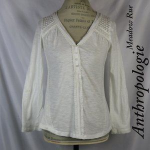 Anthro Meadow Rue White Floral Embroidered Blouse